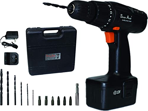 Seven Avail Battery Electric Screwdriver Impact Drill Set 12V Cordless Drill Motor,Rechargeable Cordless Screwdriver, Impact Drill,Powerful with Black Plastic Box Case