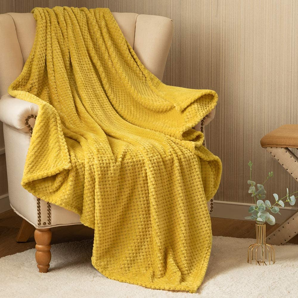 Fleece Throw Blanket Mustard Yellow Soft Waffle Pattern Flannel Velvet Plush Lightweight Throw for Girls Baby Teens Couch Sofa Recliner Travel Living Room Bedroom Nursery Winter Gift 50 by 60 Inches