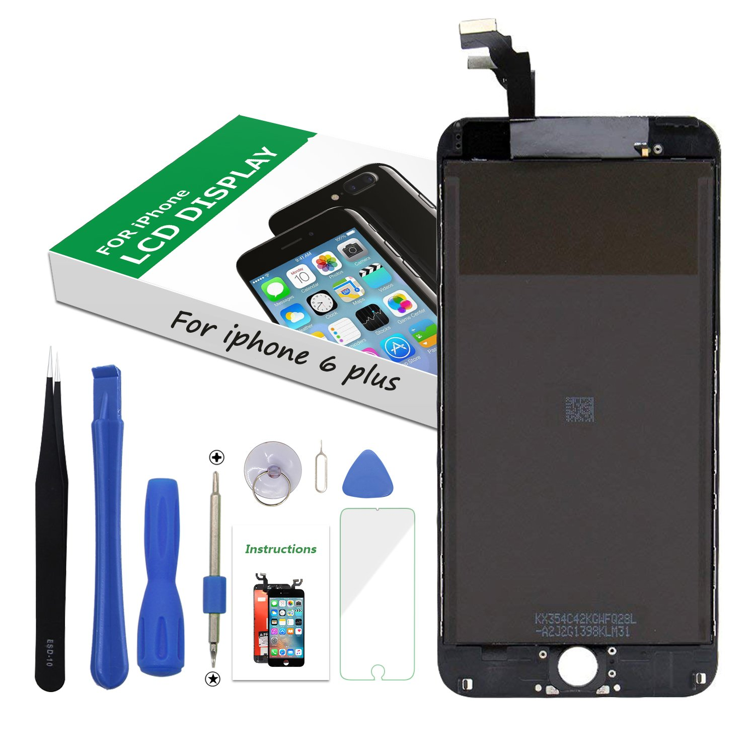 Screen Replacement LCD Display 3D Touch Screen Digitizer for iPhone 6 Plus 5.5 inch Black Frame Assembly Set with Repair Tools by i DIY (Image #1)