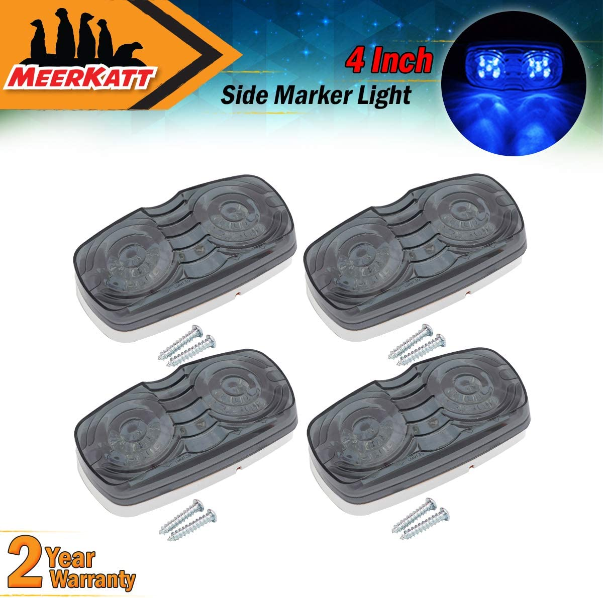 """4 PACK Clear Replacement Lens for 4/"""" x 2/"""" Clearance Marker Light Trailer Rv"""