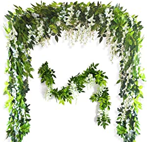 26Ft 4 Pcs Artificial Flowers Silk Wisteria Ivy Vine Green Leaf Hanging Vine Garland for Wedding Party Home Garden Wall Decor (White)