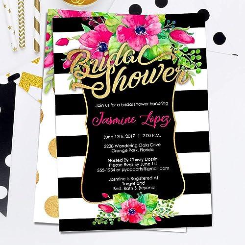 Amazon Com Bridal Shower Invitations Kate Spade Inspired Black
