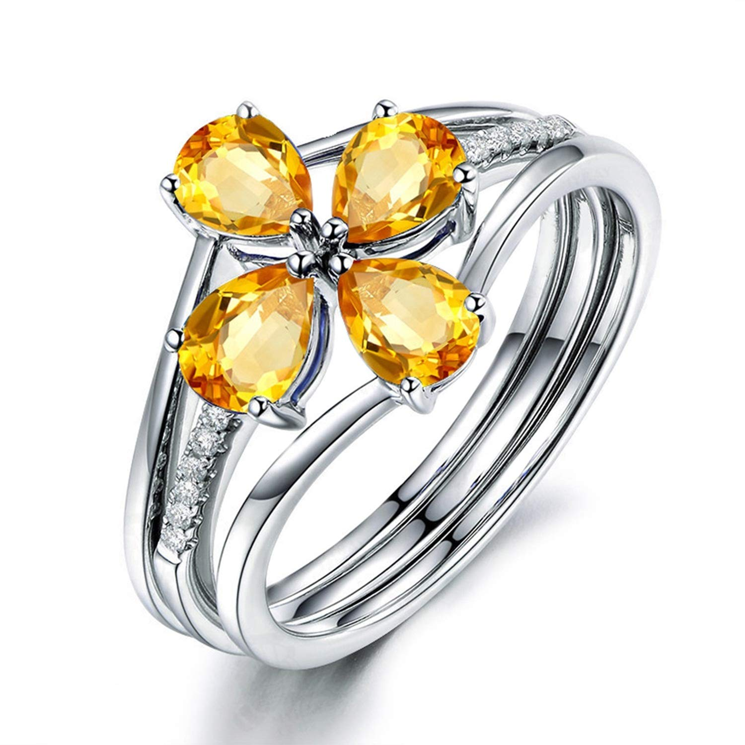 Gnzoe Jewelry-Women Sterling Silver Ring for Womenanniversary Rings Yellow Created-Citrine November Birthstone