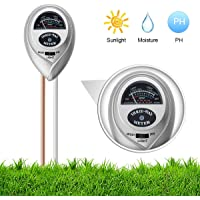 iKKEGOL 3 in 1 Soil Moisture Meter, Light and PH Acidity Tester,Soil Tester Kit for Home and Garden, Lawn, Farm, Plants, Herbs & Gardening Tools (Silver)