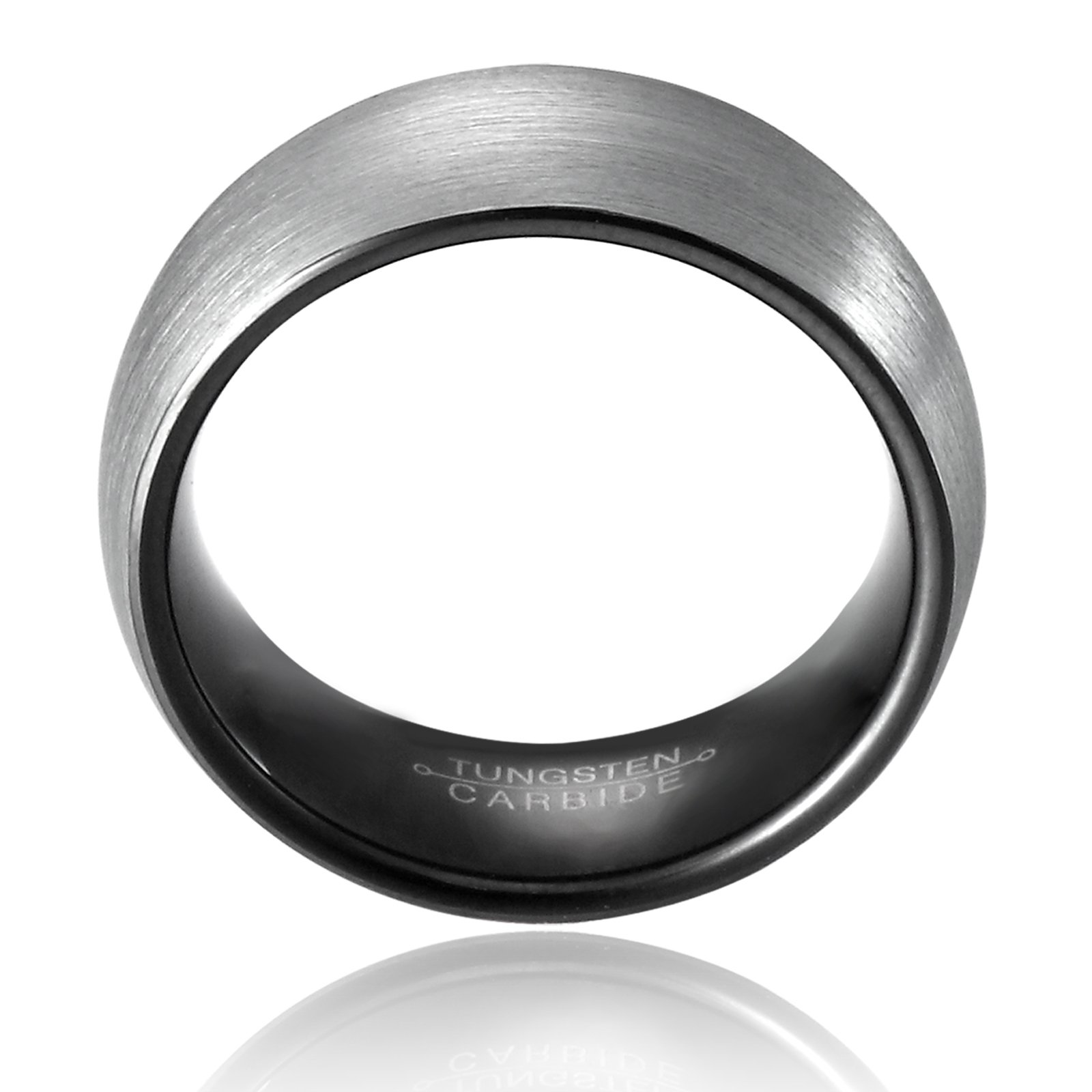 MNH Men's Carbide Tungsten Wedding Band Black 8mm Comfort Fit Brushed Matte Finish Ring Size 9.5 by MNH (Image #2)