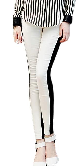 Chartou Women Half Black White Skinny Leggings Tights