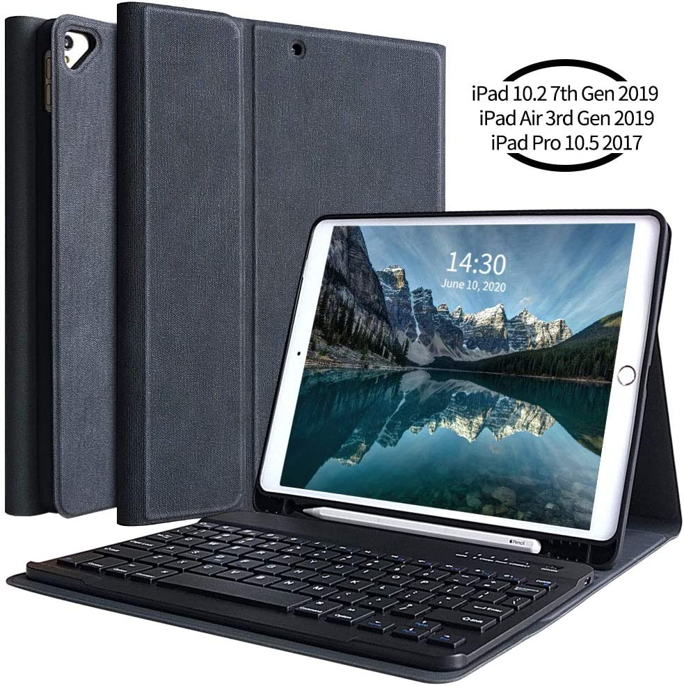 New iPad 10.2 Keyboard Case 7th Generation 2019 for iPad 10.2 Case with Keyboard Detachable Bluetooth Keyboard Case for iPad Air 3 10.5 2019//iPad Pro 10.5 2017 with Pencil Holder