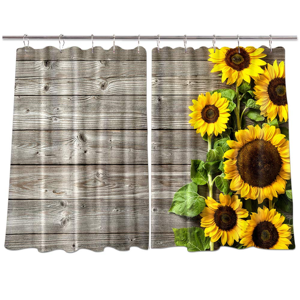 NYMB Sunflower on Wooden Kitchen Window Curtains, Spring Flower on Rustic Country Wood Curtains Panels, Kitchen Decorations Window Drapes, Window Treatment Sets with Hooks, 55X39Inches