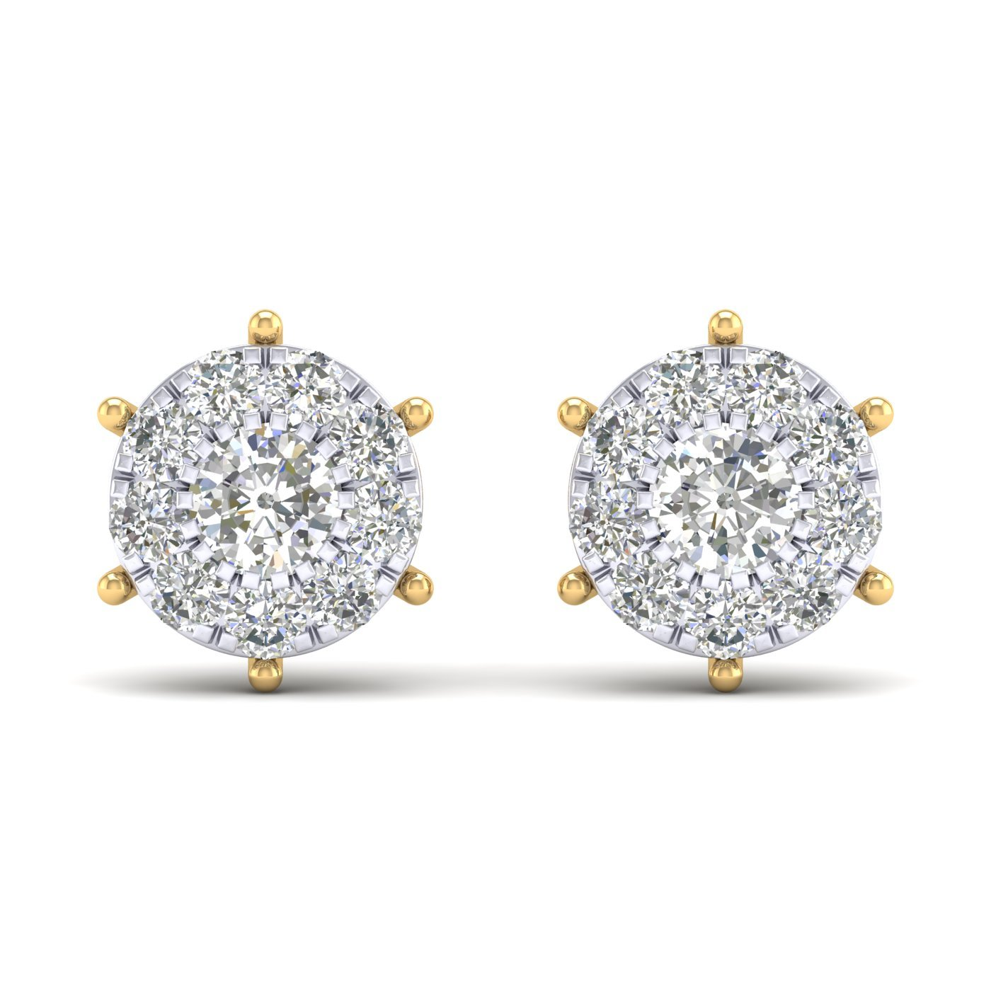 14K Yellow Gold Plated Round Cut AAA Cubic Zirconia Halo Style Cluster Stud Earrings Summer Sale