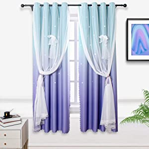 Hughapy Lilac and Turquoise Star Curtains for Kids Bedroom Girls Room Decor Ombre Curtains for Living Room Mermaid Themed, Room Darkening Window Curtains, 1 Panel (42W x 84L, Green/Purple)