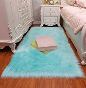 CHITONE Faux Fur Sheepskin Rug,Machine Washable, Makes a Soft, Stylish Home Décor Accent for a Kid's Room, Bedroom, Nursery, Living Room or Bath,Light Blue,2'X3'