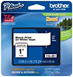 "Genuine Brother 1"" (24mm) Black on White TZe P-touch Tape for Brother PT-9600, PT9600 Label Maker with FREE TZe Tape Guide Included"