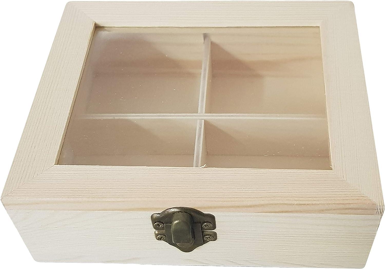 takestop® Caja de Madera joyero Tablero con Vidrio 4 ...