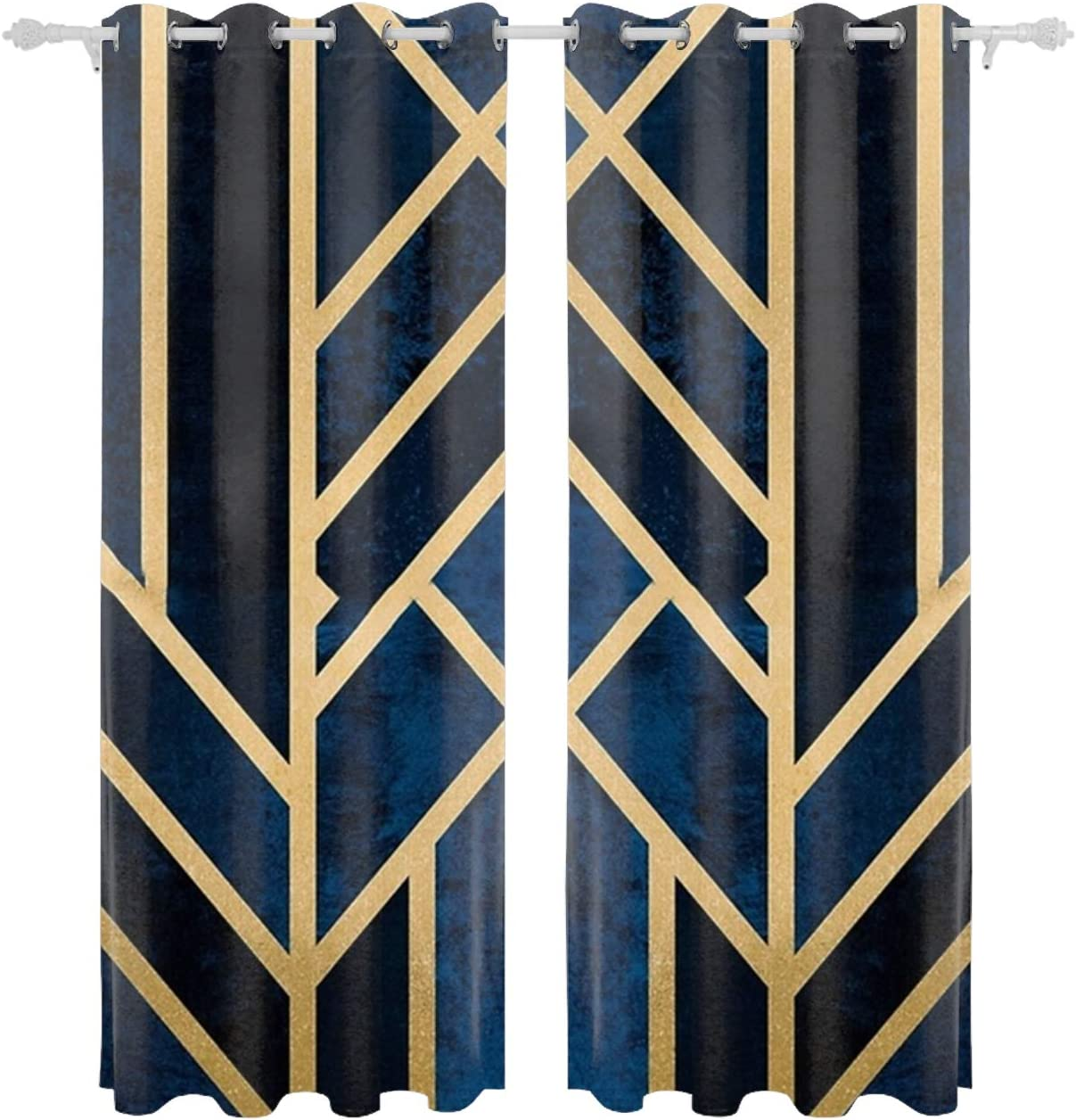 Verna Christopher Art Deco Midnight Curtain Panels For Bedroom Window Treatments Room Darkening Vintage Multicolor Curtains For Living Room Patio Door Kitchen Dining