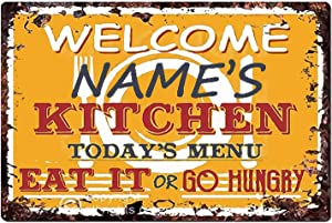 Personalized Welcome Any Name's Kitchen Sign Rustic Vintage Style Retro Kitchen Bar Pub Coffee Shop Decor 8