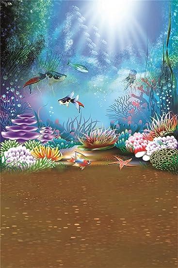 AOFOTO 10x10ft Cartoon Ocean Backdrop Photography Background Abstract Sea Painted Fish River Marine Baby Girl Boy Portrait Photo Shoot Studio Props Video Drape