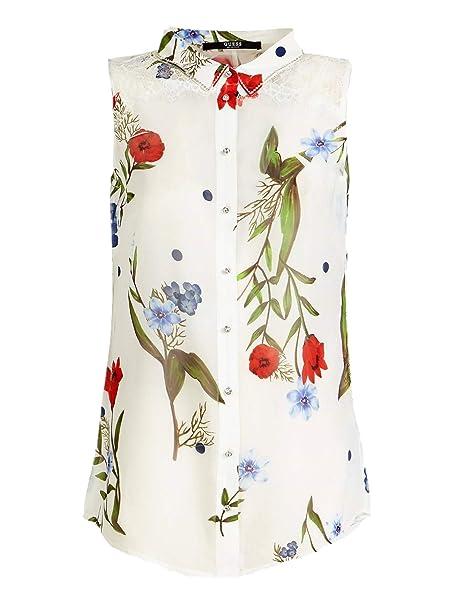best service aa98a ac5ce Guess Camicia Donna Bianca A Fiori: Amazon.it: Abbigliamento