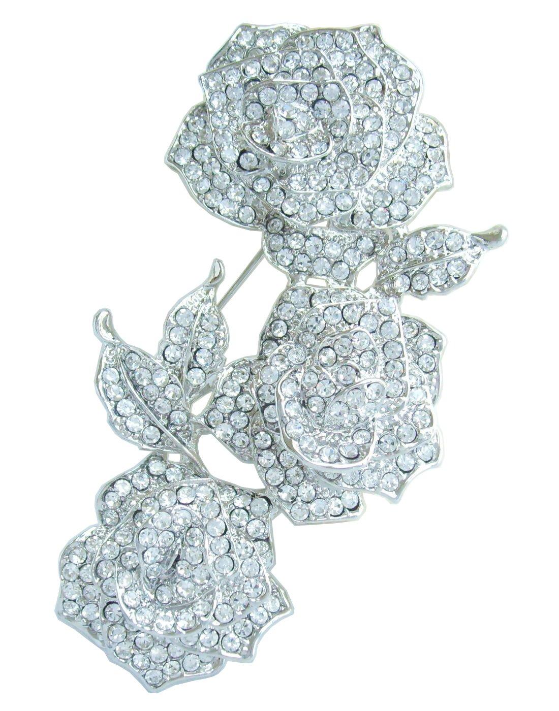 Sindary Wedding 3.35'' Clear Austrian Crystal Rose Flower Brooch Pin Pendant BZ3612