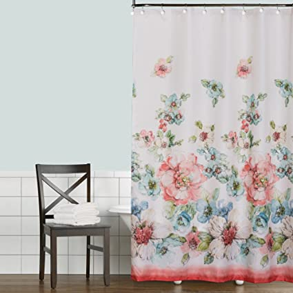 Saturday Knight Coral Watercolor Shower Curtain