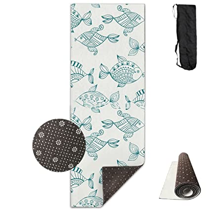 0ccde93231 Non Slip Yoga Mat Abstract Fish Style Art Premium Printed 24 X 71 Inches  Great For