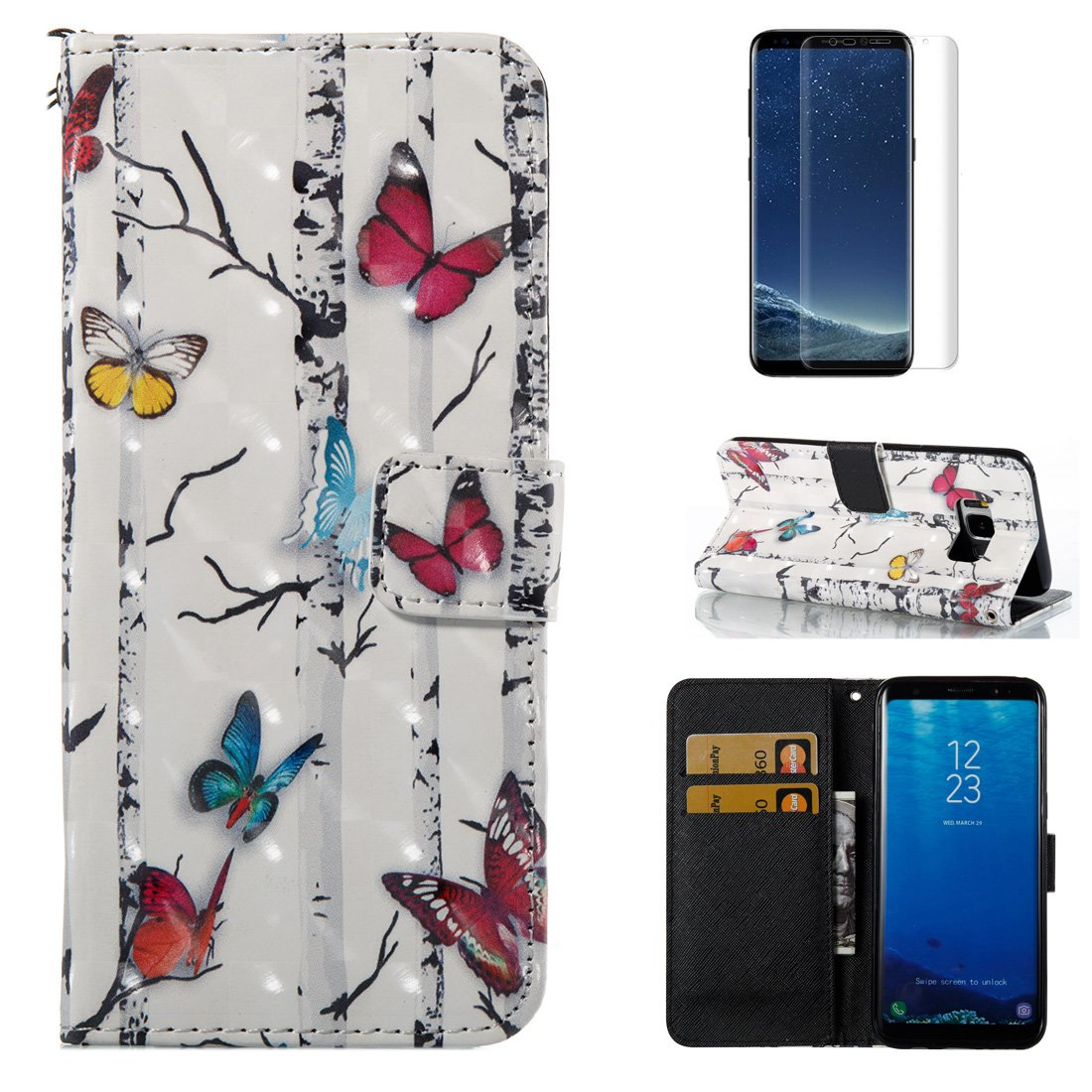 For Samsung Galaxy S8 Wallet Case and Screen Protector, OYIME [Black Feather] 3D Glitter Pattern Design Bookstyle Leather Holster Kickstand Card Slots Function Full Body Protective Bumper Magnetic Closure Flip Cover with Wrist Lanyard