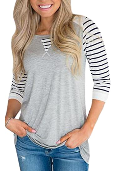 69398078e0 Chvity Women Striped Long Sleeve T Shirt Casual Round Neck Tops Tee Shirts  (Gray White