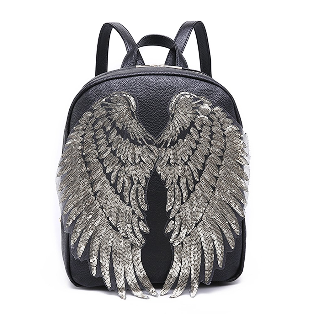 LoveInUSA Sequin Wings set, 2 PCS Sequins  Patches Silver Applique Wing Applique Iron On Wings Chanel Patches for Clothes Jackets Jeans Dress Hat DIY Accessory