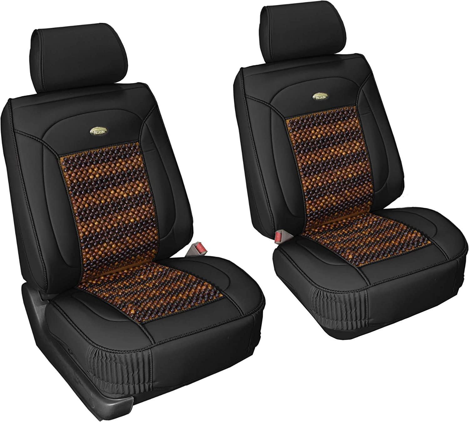 FH Group PU203102 Premium Leather Seat Leather Cushion Pad Seat Covers Black Color w. Cooling Rosewood Beads-Fit Most Car, Truck, SUV, or Van