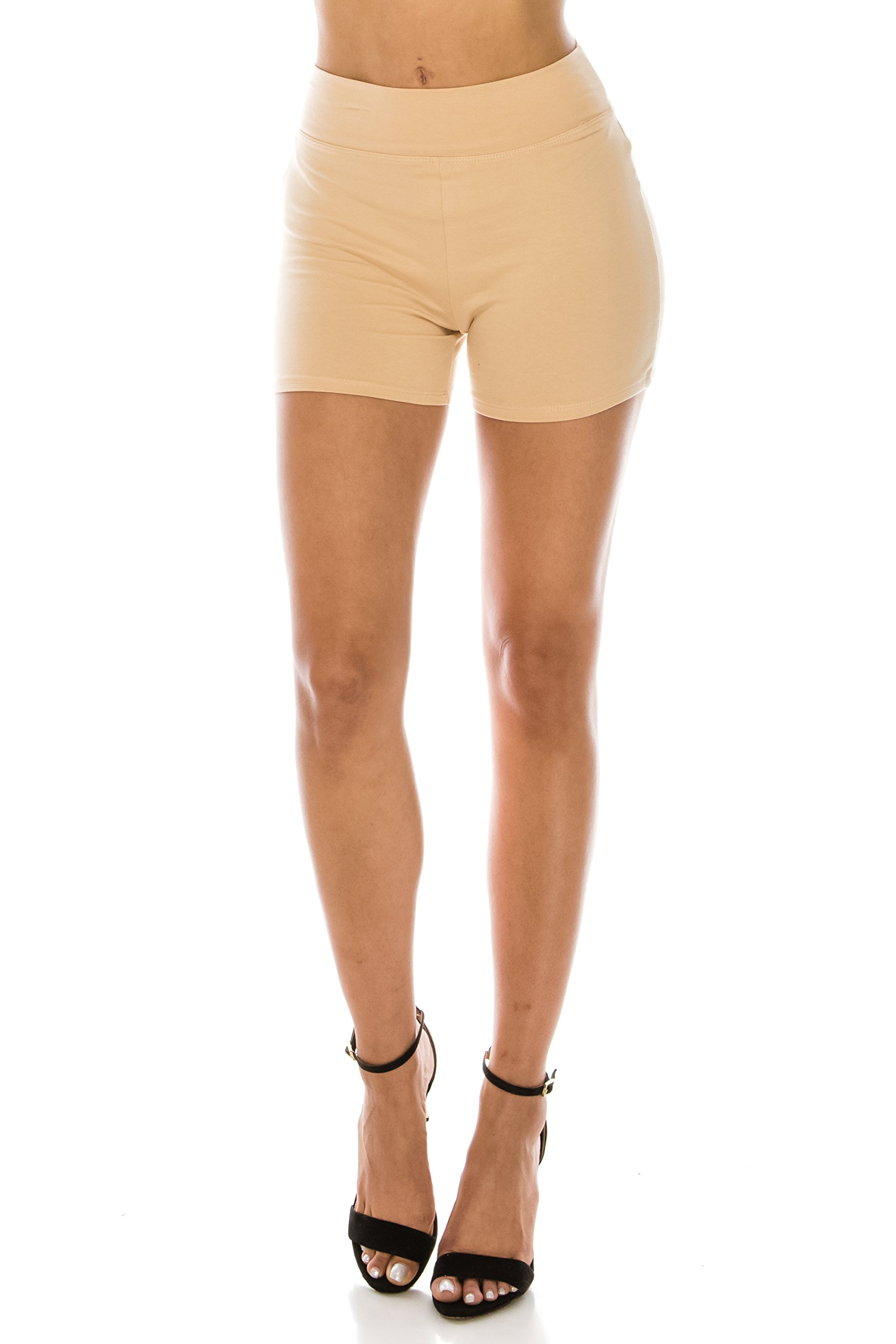 The Classic Women's Stretch Cotton Activewear Dance Yoga Booty Shorts Pants S to 3XL (Large, Nude_High) by The Classic (Image #3)