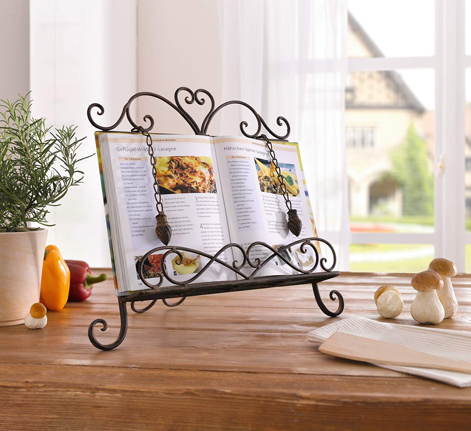 Antique Metal ♥Cookbook Stand Recipe Book Stand for Kitchen Easel Weighted Chain by Charm & Chic