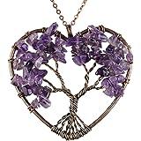 BAYUEBA Natural Necklace, Tree of life Heart Pendant, Amethyst Argentina Rhodochrosite Chakra Gemstone Jewelry