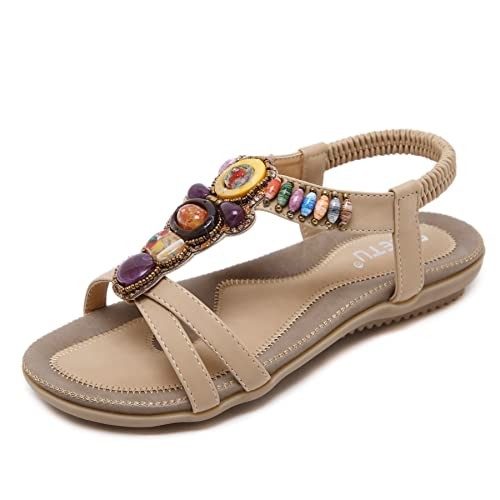 c732523bc Women T-Strap Beaded Flower Gladiator Flat Dress Sandals Beach Shoes Bohemian  Thong Sandal Elastic Back Strap Clip Toe Flats Sandals Summer Bohemian ...