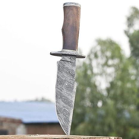 Amazon.com: Cuchillo de caza hecho a mano de acero Damasco ...