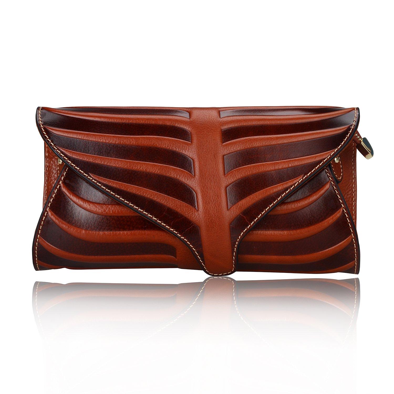 PIJUSHI Women Clutch Designer Leaf Purse Leather Crossbody Bags For Women (22290, Brown)