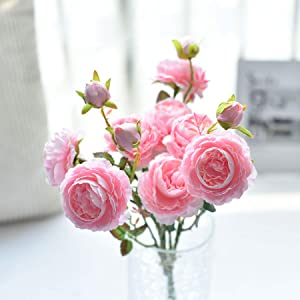 famibay Artificial English Cabbage Rose Spray in Soft Blush Pink, Garden Roses with Greenery Leaves
