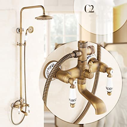 Lxn European Style All Bronze Retro Shower Set Bathroom Lift Up And