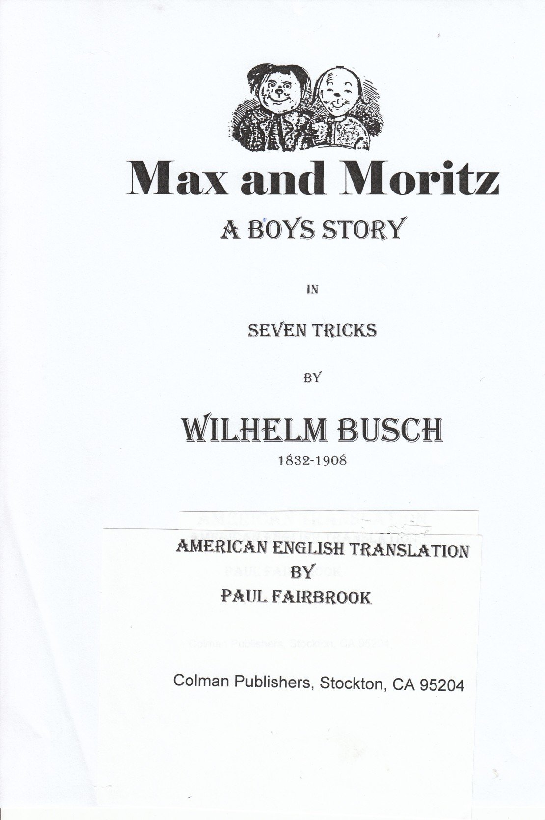 Max And Moritz By Wilhelm Busch An American English Translation