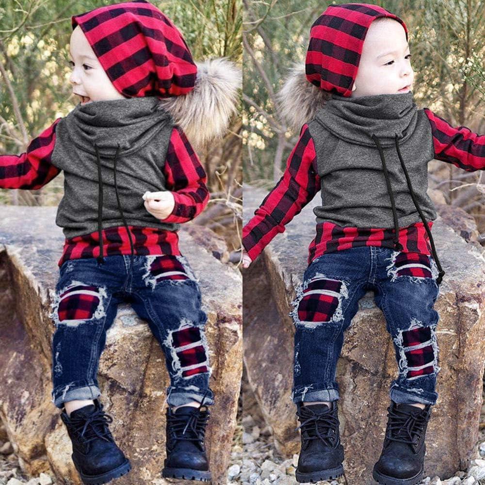 Stern-Feste Hosen 0-48Monate Bekleidung Longra Baby Kinderkleidung f/ür M/ädchen Jungen Baumwollstipe Langarm T-Shirt