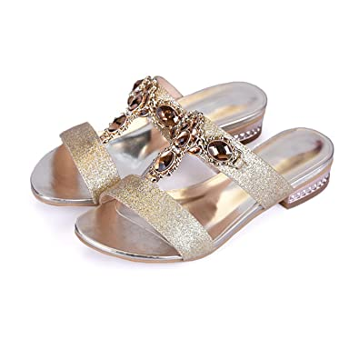 Image Unavailable. Image not available for. Color  Shoes Women Sandals  Summer Rhinestone Ladies Slippers Open Toe Low Heel Slides Crystal Sandals  Sliver ... 81d07fcc6c28