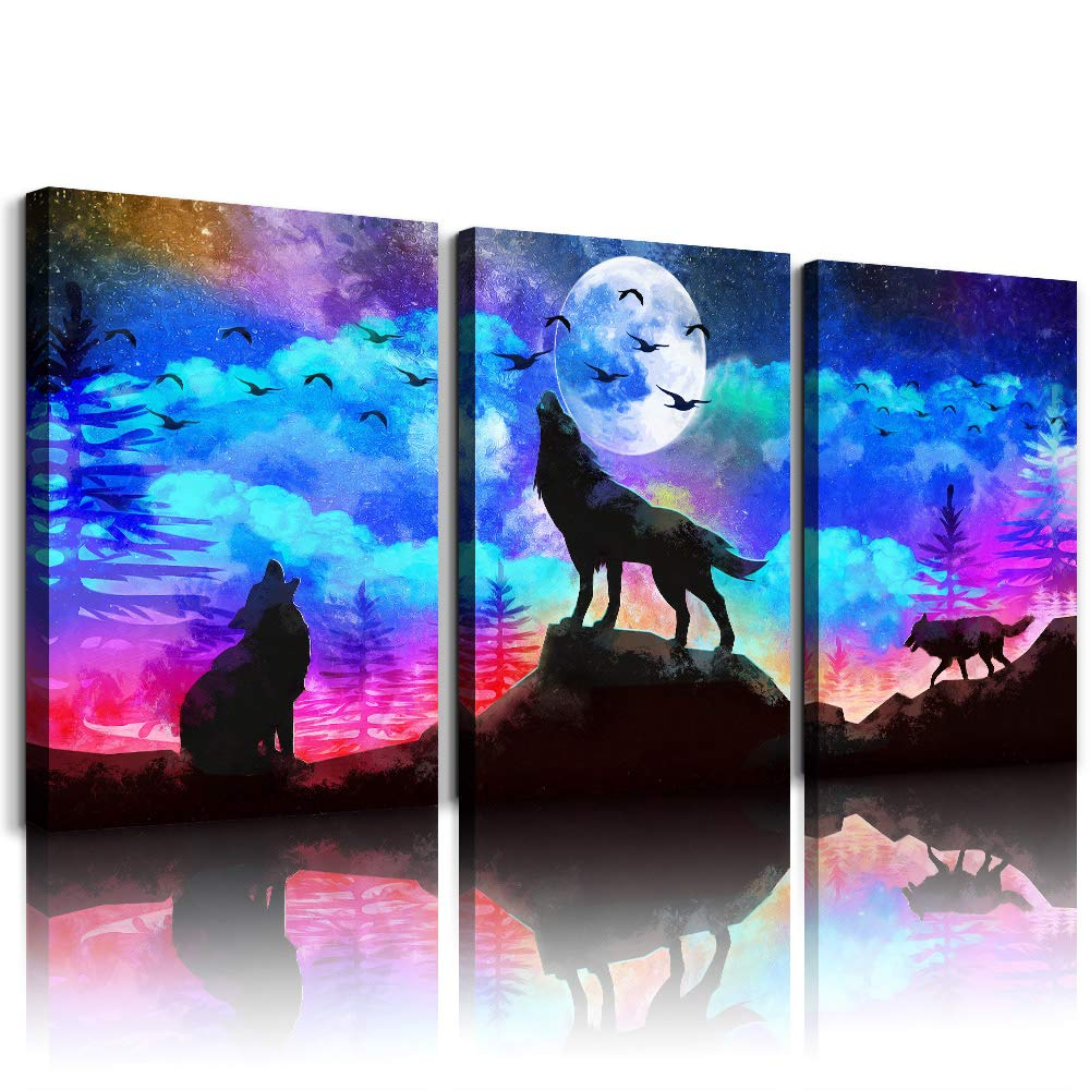 TTHWALLART Canvas Wall Art for Living Room Bathroom Wall Decor for Bedroom Kitchen Artwork Canvas Prints 3 Pieces Modern Framed Office Home Decorations Blue Starry Sky Landscape Wolf Picture