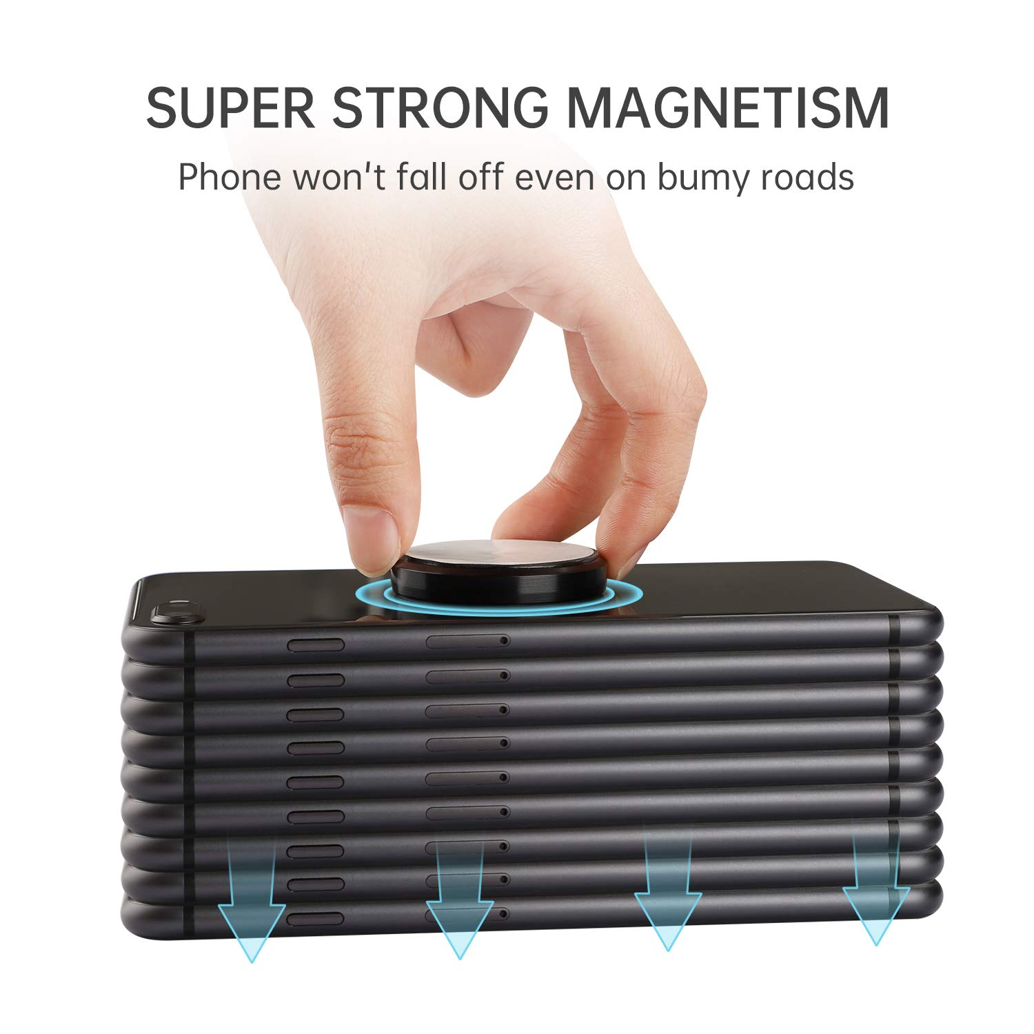 MENNYO Magnetic Phone Holder, 2 Pack Car Magnet Mount with Metal Plate Stick on Dashboard | Wall Magnet Sticker for iPhone 11/X/Xs/Xs Max/8 Samsung Galaxy S10/S9/S8/Note Huawei & Other Mobile Phones