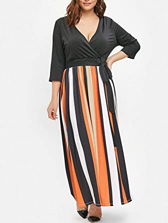 Amazon.com: EbuyChX Striped Panel Plus Size Plunging Neck ...