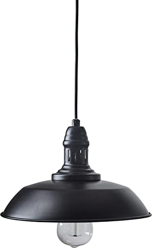 Stone Beam Modern Farmhouse Round Shade Hanging Pendant Chandelier Fixture With Vintage Light Bulb – 10.25 Inch Shade, 8 – 56.75 Inch Cord, Black