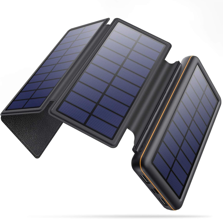 SWEYE Cargador Solar Móvil 26800mAh,【4 Paneles Solares Desmontable/Type-C Carga Rápida】 Batería Externa Móvil con 2 Puertos USB 3.1A Power Bank Solar para Smartphones, Tabletas y Dispositivos USB