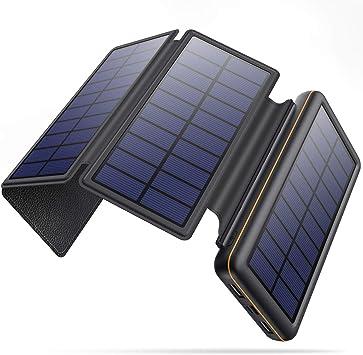SWEYE Powerbank Solar 26800 mAh 【4 paneles solares desmontables/Tipo C carga rápida】Cargador solar portátil con 2 puertos 3.1 A batería externa solar ...