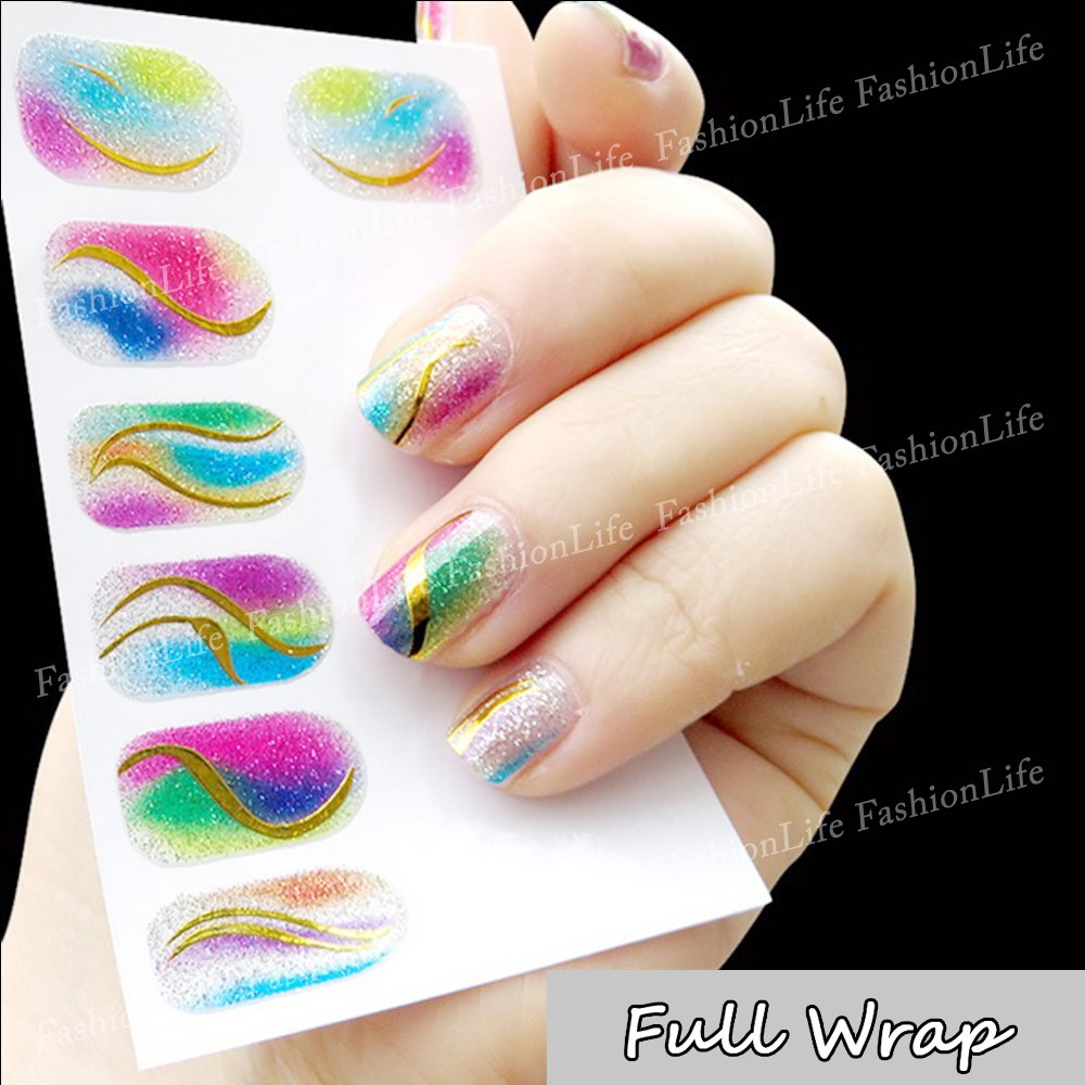 Nail Art Stickers Full Wrap Space Design - Golden Pattern Nail Sticker Tattoo - FashionLife