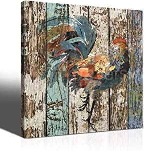 guibaoguo Canvas Print Rooster Rustic Bathtub Vintage Farmhouse Bathroom Wall Art Contemporary Decorative Picture Paintings Wall Decor for Bathroom Living Room Canvas Art Wall Decor Office