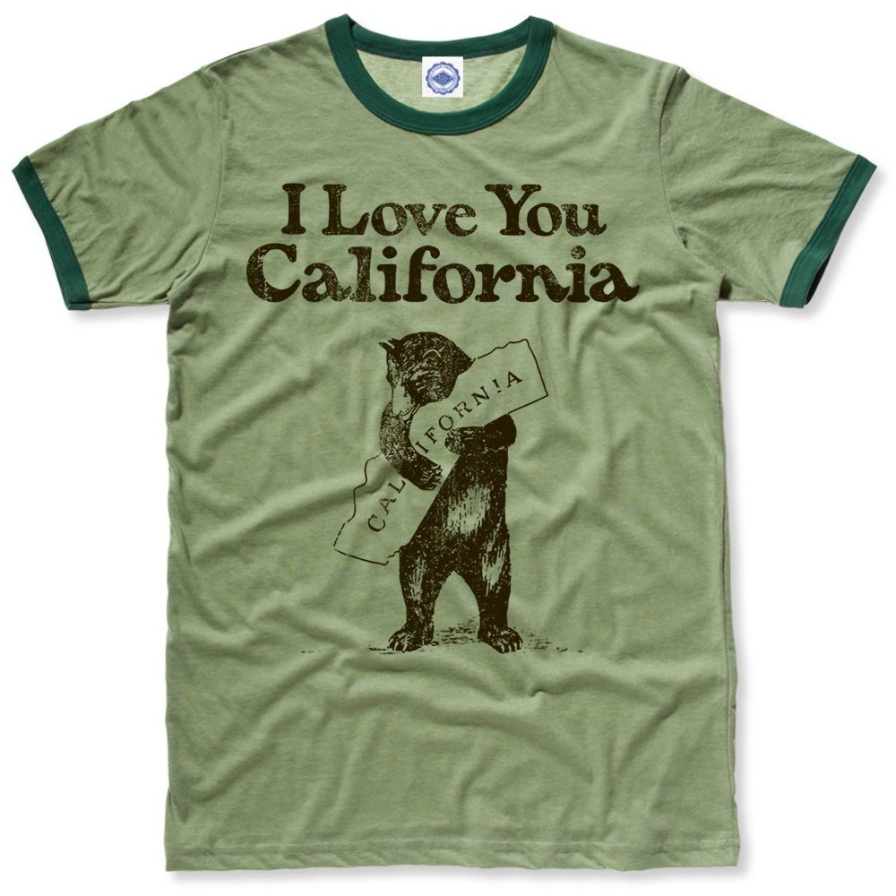 Hank Player U.S.A.. I Love You California Men's Ringer T-Shirt (L, Heather Green)