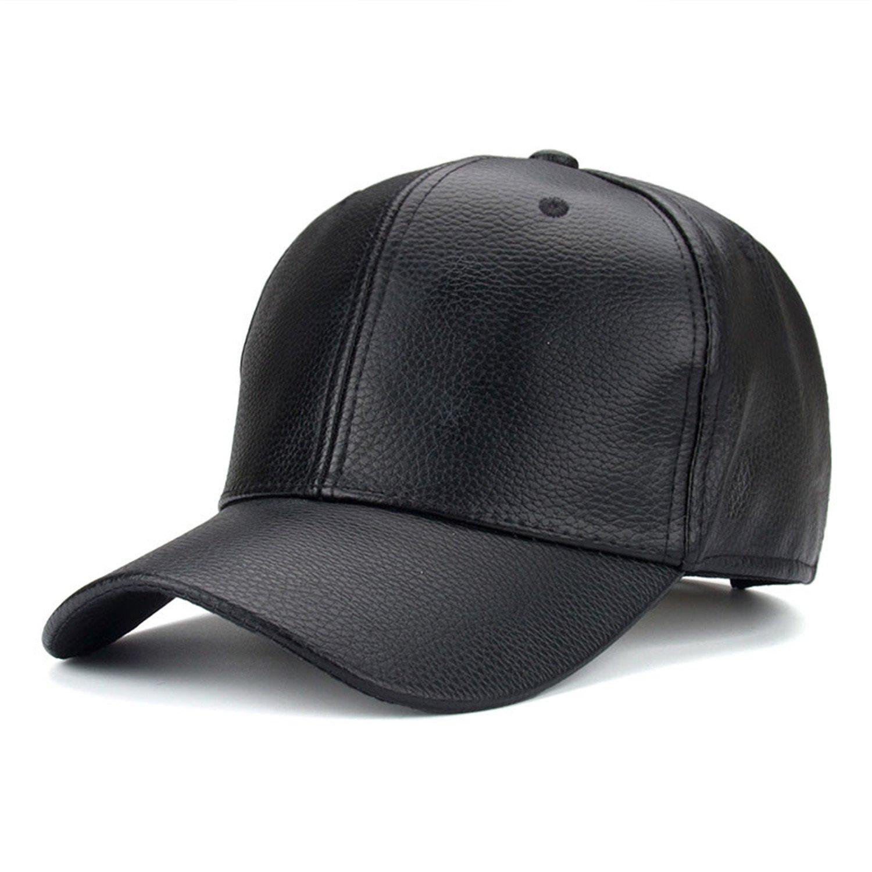 SHUNVFAN Chic PU Leather Baseball Cap Hip Hop Caps gorras Snapback Hat Biker Trucker For Men Women Black at Amazon Womens Clothing store: