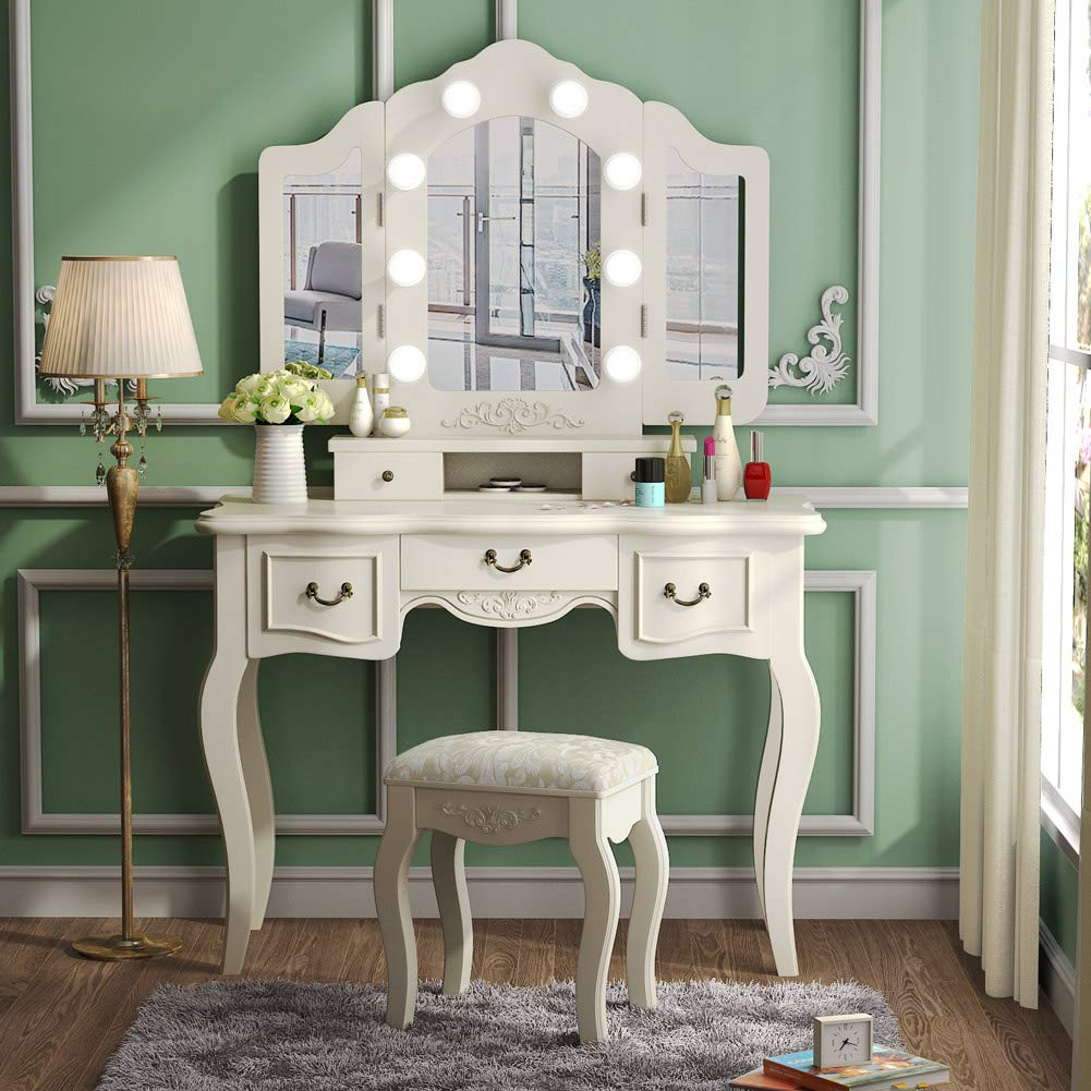 Tribesigns Vanity Set with Tri-Folding Lighted Mirror, French Vintage Makeup Vanity Dressing Table Dresser Desk with 5 Drawers, 8 LED Lights and Cushioned Stool for Bedroom, Ivory White by Tribesigns